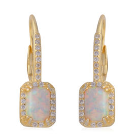 Simulated Pink Opal (Oct), Simulated Diamond Earrings in Yellow Gold Overlay Sterling Silver, Silver wt 3.00 Gms.