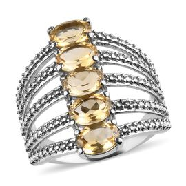 Citrine Five Stone Ring in Stainless Steel 3.50 Ct.