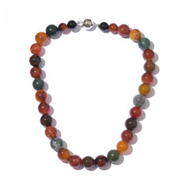 Rainbow Colour Agate (Ball) Necklace (Size 20) in Platinum Overlay Sterling Silver 750.000 Ct.