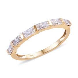 J Francis 9K Yellow Gold (Bgt) Band Ring Made with SWAROVSKI ZIRCONIA