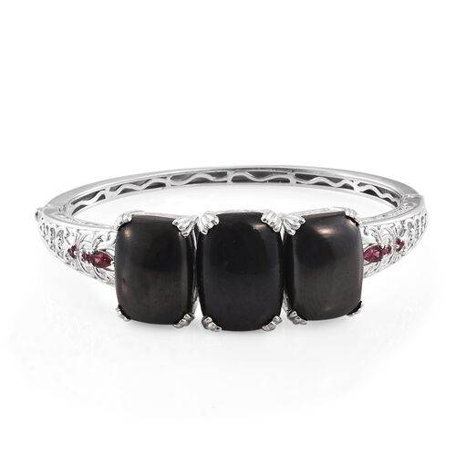 Shungite (Cush 15.25 Ct), Rhodolite Garnet Bangle (Size 7.5) in Platinum Overlay Sterling Silver 43.