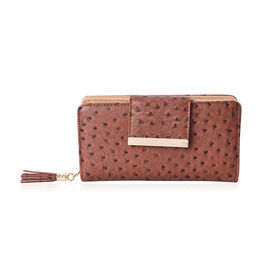 Dot Pattern Wallet with 5 Slip Pocket, 6 Card Slots and 1 Zip Pocket (Size 19.2x10x4 Cm) - Brown