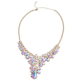 Simulated Mercury Mystic Topaz Collar Necklace in Gold Tone 20 with 3 inch Extender