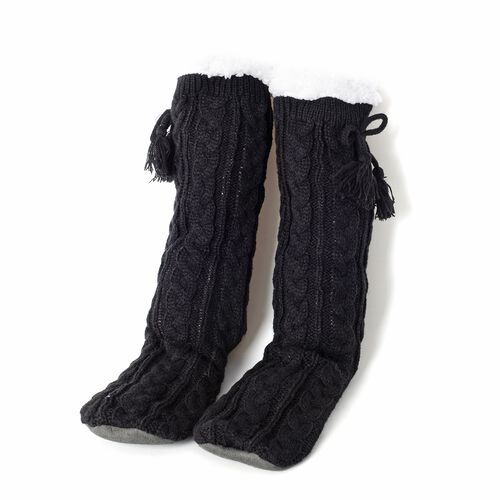 Set of 2 Pairs - Warm and Soft Black and Beige Colour Faux Fur Booties with Sherpa Lining (Size 25x24Cm) (size 4-9)