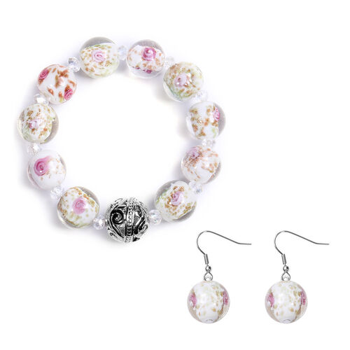 2 Piece Set -  Pink Murano Glass and Simulated Pink Sapphire Beaded Bracelet and Hook Earrings