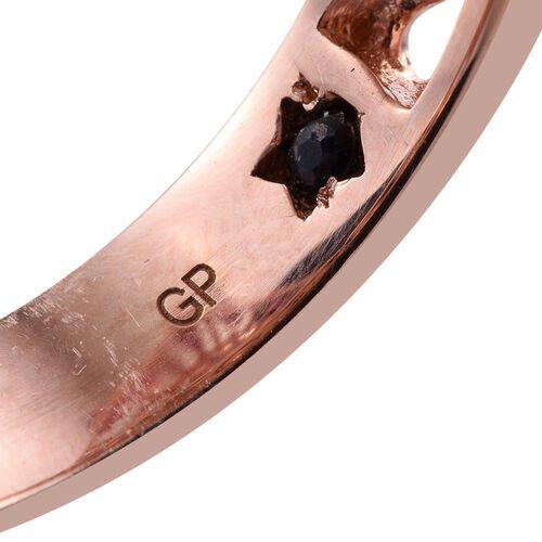 GP Rose Quartz (Rnd 29.23 Ct), Rhodolite Garnet and Kanchanaburi Blue Sapphire Ring in Rose Gold Overlay Sterling Silver 34.250 Ct. Silver wt 9.00 Gms.