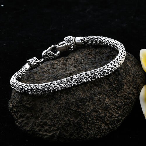 Bali Legacy Collection Sterling Silver Tulang Naga Bracelet (Size 7), Silver wt 21.88 Gms.