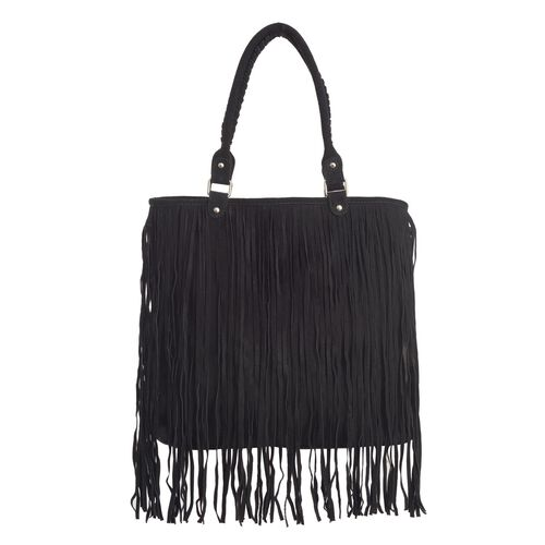 Genuine Leather Black Colour Full Fringe Tote Bag (Size 35x12x38 Cm)