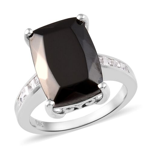 5 Carat Elite Shungite and Zircon Solitaire Design Ring in Platinum Plated Silver