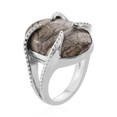 Utah Rhyolite Jasper (Ovl) Ring in Platinum Plated 10.500  Ct.