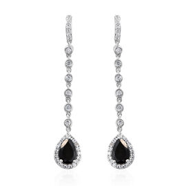 Black Tourmaline (Pear), Natural Cambodian Zircon Earrings (with Push Back) in Platinum Overlay Ster