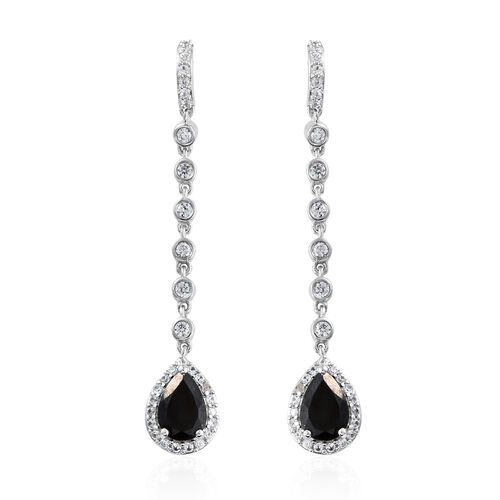 Black Tourmaline (Pear), Natural Cambodian Zircon Earrings (with Push Back) in Platinum Overlay Sterling Silver 5.500 Ct, Silver wt 5.83 Gms