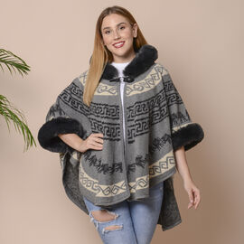 Grey Colour Half Round Shape Blanket Wrap with Faux Fur Collar (Size 109.22 x 80.01cm)