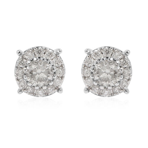 1.50 Ct Diamond Stud Cluster Earrings in 14K White Gold Certified I1 I2 GH
