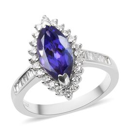 RHAPSODY 2.78 Ct AAAA Tanzanite and Diamond Halo Ring in 950 Platinum 6.50 Grams VS EF