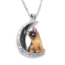 White Austrian Crystal Engraved Moon and Enamelled German Shepherd Dog Pendant with Chain (Size 20)