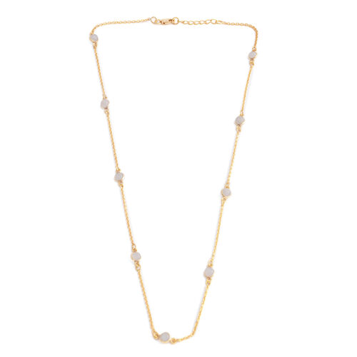 Close Out Deal - Sri Lankan Moonstone Station Necklace  (Size 18 with 1 inch Extender) in 14K Gold Overlay Sterling Silver 2.700 Ct,