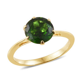 New York Close Out- 14K Yellow Gold AAAA Russian Diopside (Rnd) Solitare Ring 2.000 Ct.