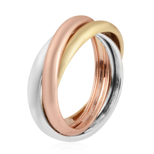 Vicenza Collection 9K Yellow, Rose and White Gold Trinity Band Ring