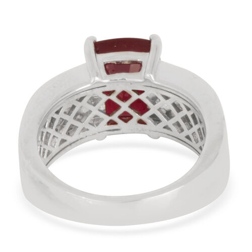 African Ruby (Cush 4.50 Ct), White Topaz Ring in Rhodium Plated Sterling Silver 6.000 Ct.