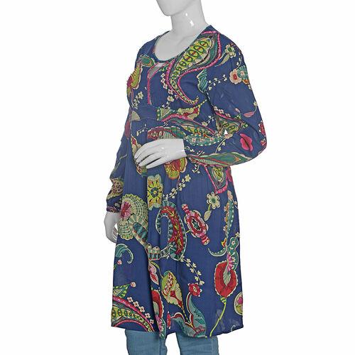 Navy Blue and Multi Colour Floral Pattern Embellished Dress (Size L 99.06x50.8 Cm)