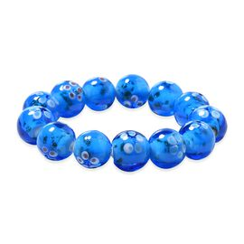 Millefiori Collection Blue Colour Murano Style Glass Stretchable Beaded Bracelet 7 Inch