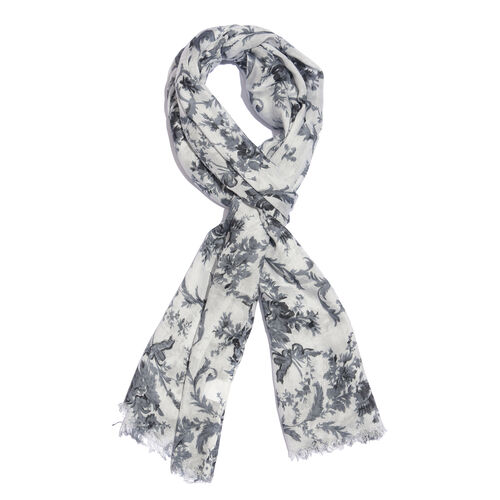 Light Grey, Off White and Multi Colour Floral Printed Scarf with Fringes (Size 180X70 Cm)