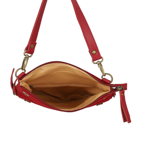 Leather and Canvas Floral Embroidered Crossbody Bag (Size 27x1.25x11.5cm) with Adjustable Shoulder Strap - Red Wine Colour