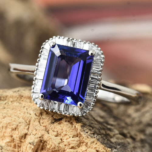 Rhapsody AAAA Tanzanite (2.25 Ct) and Diamond 950 Platinum Ring  2.500  Ct.