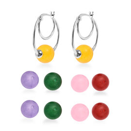 Multi Colour Jade Five Bead Interchangeable Earrings in Stainless Steel 70.60 Ct.