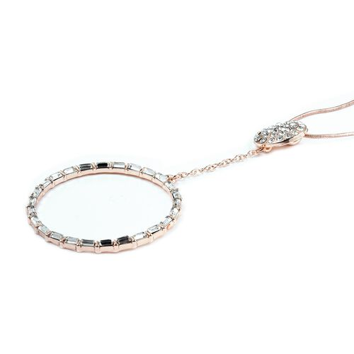 Designer Inspired-  White Austrian Crystal (Rnd), Simulated Diamond Circle Pendant With Chain (Size 30 with 2 inch Extender) in Rose Gold Plated