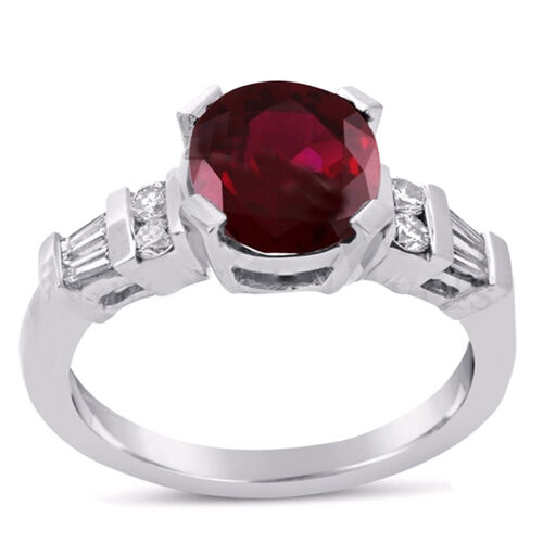 African Ruby (Ovl 5.20 Ct), Natural Cambodian White Zircon Ring in Rhodium Plated Sterling Silver 6.000 Ct.