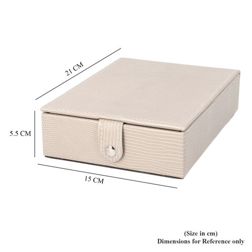 Grace Collection - Lizard Skin Pattern Rectangular Shaped  Anti-Tarnish Jewellery Box with Extendable Mirror, Ring Rows & 5 Sections (Size 21x15x5.5cm) - Ivory