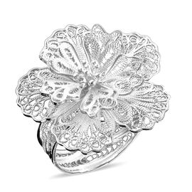 Royal Bali Open Work Floral Ring in Sterling Silver 5.76 Grams