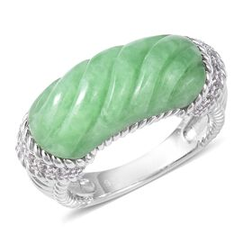 Carved Green Jade and Natural White Cambodian Zircon Ring in Rhodium Overlay Sterling Silver 12.80 C
