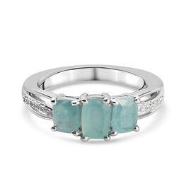 Zircon, Grandidierite Ring in Platinum Overlay Sterling Silver 1.35 ct  1.350  Ct.