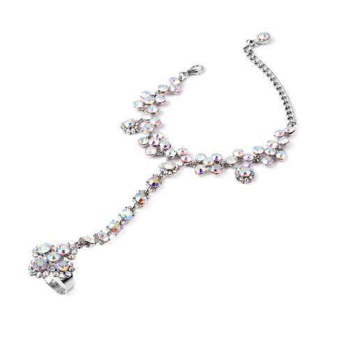(Option 1) Simulated Mystic White Crystal (Rnd) Bracelet (Size 6.5 with 3 inch Extender) with Attach