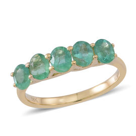 ILIANA 1.50 Carat AAAA Zambian Emerald 5 stone Ring in 18K Gold 3.1 Grams