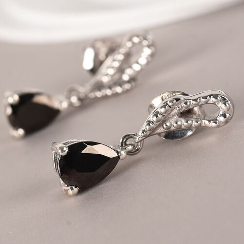 Elite Shungite Drop Earrings (with Push Back) in Platinum Overlay Sterling Silver 1.00 Ct.