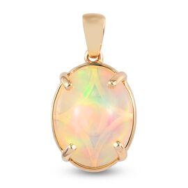 9K Yellow Gold Ethiopian Welo Opal Solitaire Diamond Pendant 3.40 Ct.