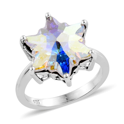J Francis - Crystal from Swarovski - Swarovski AB Crystal Stellaris Cut Ring in Platinum Overlay Ste