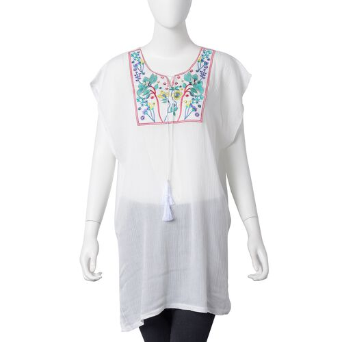 New Season-White, Red, Blue and Multi Colour Ethnic Style Embroidered Lotus Pattern Summer Poncho (S