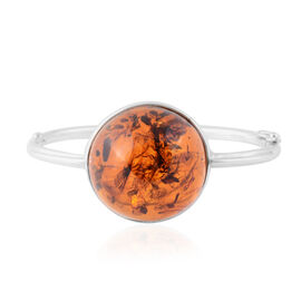 Amber (40.00 Ct) Sterling Silver Bangle (Size 7)  40.000  Ct.