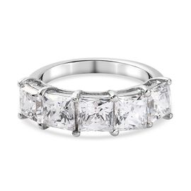 J Francis Platinum Overlay Sterling Silver Ring Made with SWAROVSKI ZIRCONIA 6.54 Ct.