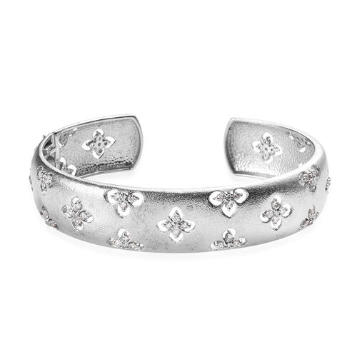 J Francis Made with SWAROVSKI ZIRCONIA Cuff Bangle in Platinum Plated Silver 35 grams 7.5 Inch