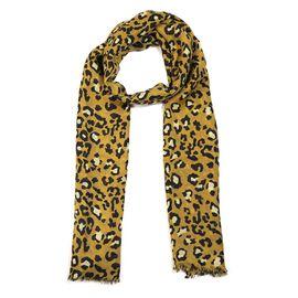 100% Merino Wool Leopard Pattern Scarf (Size 70x180 Cm) - Olive