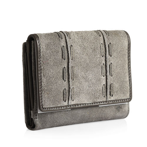 100% Genuine Leather RFID Blocker Grey and Taupe Colour Wallet with Multiple Card Slots (Size 13.3X10.7X3.15 Cm)