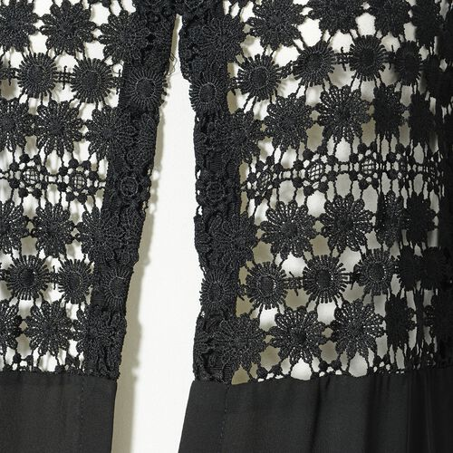Black Colour Woven lace Cardigan