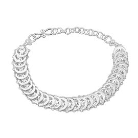 Royal Bali Collection - Sterling Silver Filigree Circle Link Bracelet (Size 7 with 1.5 inch Extender