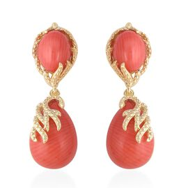 Living Coral (Pear 14x10 mm) Earrings (with Push Back) in Yellow Gold Overlay Sterling Silver 15.25